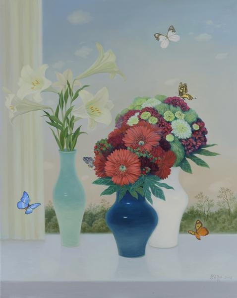 瓶花與蝴蝶